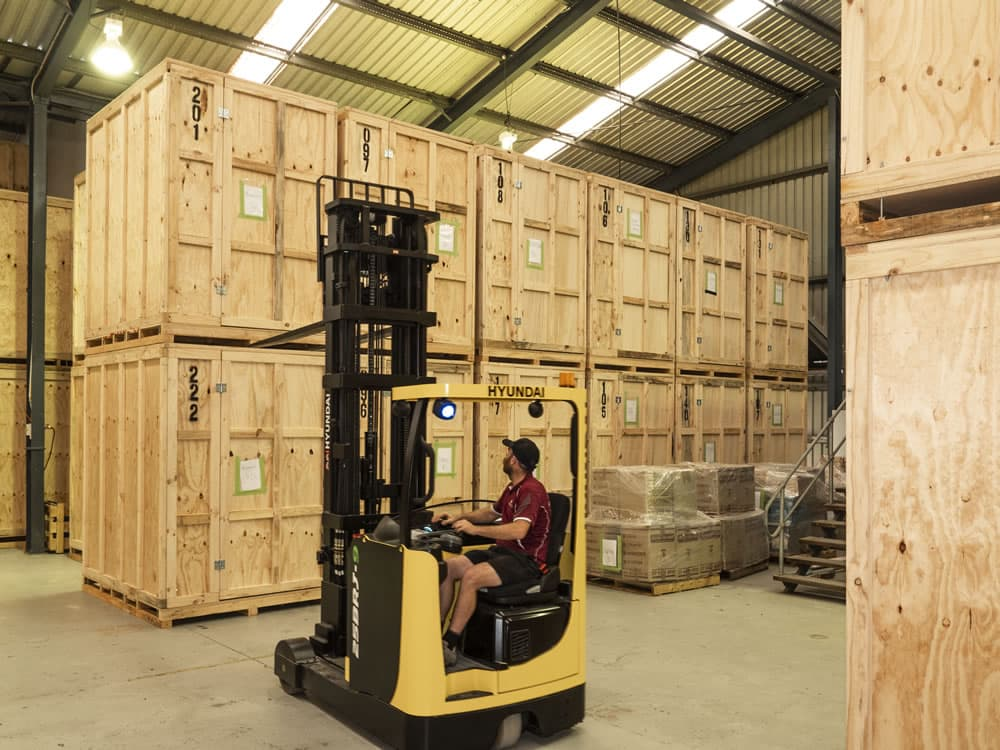 We forklift the containers/modules off at our secure storage centre.
